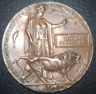 Memorial Plaque-Death Penny to Frederick Samuel Stear- C.A.S.C.
