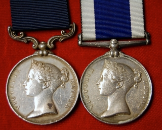 Royal Marine M.S.M./Naval LSGC medal pair to Wm Williams, Col. Sergt. 43rd Co. Plymo. R.M.L.I.