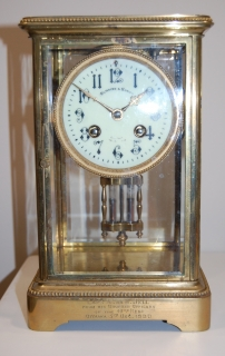 Circa 1900 Olmsted and Hurdman (Ottawa) Shelf Clock engraved to Captain A. de M. Bell, 43rd Regt