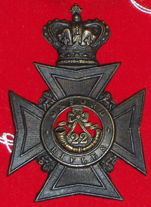 22nd Battalion The Oxford Rifles helmet plate.