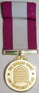 Canadian Banks Law Enforcement Award medal