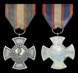 Sea Cadet Gallantry Cross, reverse inscribed, 'Cadet O/S Michael Robert Thompson, 10th May 1959', in Spink, London fitted case of issue