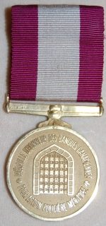 Canadian Banks Law Enforcement Award medal (FRENCH ISSUE). Awarded for outstanding police action in combatting crimes against Canadian banks.