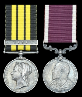 Pair: Company Quartermaster Serjeant E. W. Hogbin, Royal Engineers:  East and West Africa 1887-1900, 1 clasp, 1898; Army L.S. & G.C., E.VII.R.