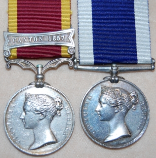 Pair: China 1857 clasp Canton 1857 unnamed as issued; Royal Navy L.S. & G.C., V.R., wide suspension (R. Sherlock, Sergt. 86th Coy. R.M. 22 yrs.)